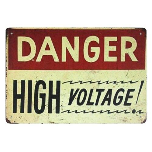 Señal de publicidad de lata de alto voltaje de Peligro de metal de estaño signos de publicidad de pared Art-Tin Sign 20 x 30 cm