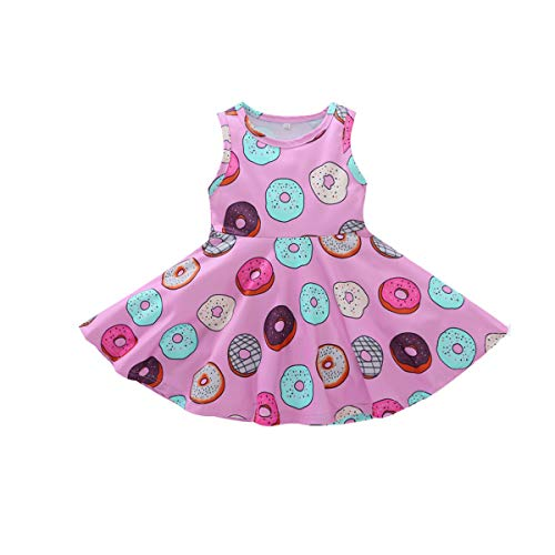 YOUNGER TREE Toddler Girls Donut Dress Doughnut Print One-Piece Skirt Sleeveless Princess Floral Dress (4T, Donut Print Floral Dress)
