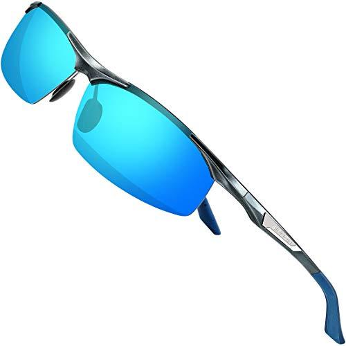 SIPLION Herren Sport Polarisierte Treiber Glasses Sonnenbrillen Al-Mg Metallrahme Ultra leicht 8729 Gray+blue