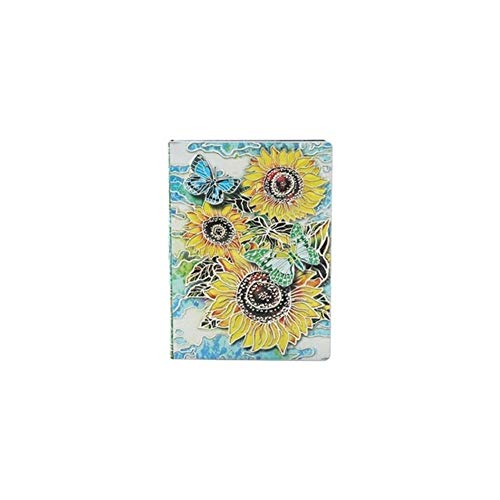 Ampelos -Journal Notepad Reise Tagebuch Planer Business School Supplies 3D Sunflower Geprägte Notebook Tagebuch (Color : Silver, Size : 64K)