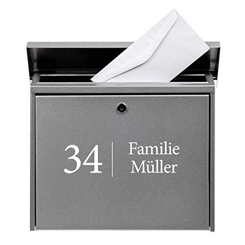 Hausnummer Familie Name Straßenname Briefkasten Aufkleber für Briefkasten selbstklebende Aufkleber Schwarz oder Weiß Folie für Haustür Glasdekor Namensschild