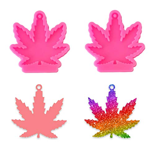 2Pcs Maple Leaf Keychain Silicone Mold, Leaves Shaped Handmade Keychain Silicone Mold with Hole for DIY Cupcake Decoration Candy Fondant Pudding Desserts Crystal Gum Paste Soap Mould, Pink