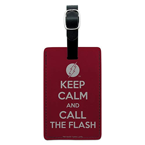 The Flash Keep Calm and Call Rectangle Leather Luggage Card Carry-On ID Tag