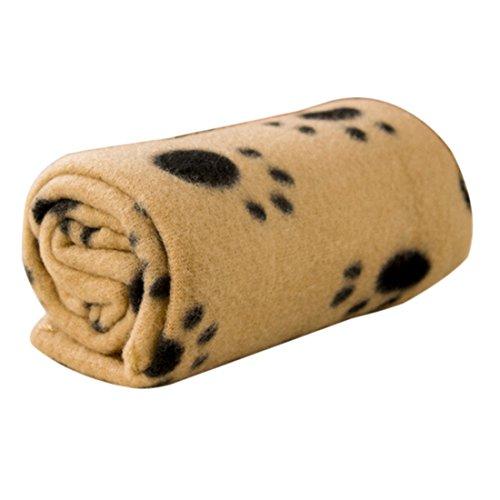 Bluelans® Couverture en polaire douce et chaude pour animal domestique Motif empreintes de pattes Marron 60 x 70 cm