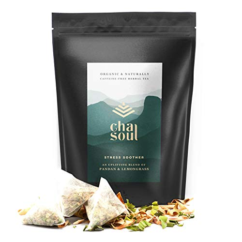 Cha Soul Stress Soother Organic Herbal Tea for Anxiety Relief, Stress Support, Natural Headache and Pain Relief, with full-leaf Lemongrass and Pandan, 20 Biodegradable Tea Bags made from corn cob