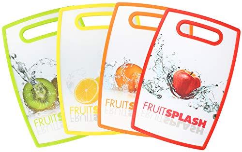 com-four® 4x zweiseitiges Schneidebrett aus Kunststoff mit Früchte-Motiven - robustes Frühstücksbrett für die Küche - 30 x 20 cm (4 Stück - Früchte)