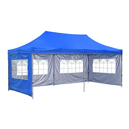 Outdoor Basic 10x20 Ft Wedding Party Canopy Tent Pop up Instant Gazebo with Removable Sidewalls and Windows (Blue 4 Walls)