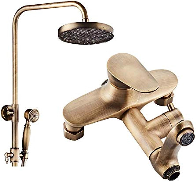 Cxmm Duschsysteme Vollkupfer-Retro-Duschset, Wandmontage Freihub-Handbrause Bad drehbar Kalt-   Warmwasserhahn (Farbe  Messing, Gre  A)
