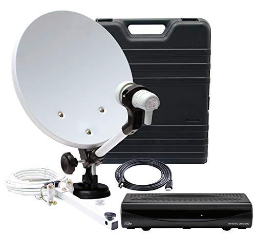 Telestar HDTV SAT Camping-Satellite-Anlage mit Imperial DB 6 S HD (HD-Receiver, 35cm Spiegel, Single LNB, Kabel, div. Halter) schwarz