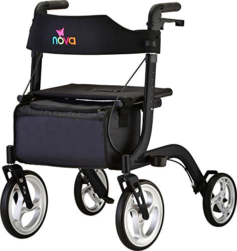 """NOVA Medical Products Express Rollator Walker Large 10"""" amp 8"""" Wheels Compact Foldable amp Free Standing Easy to Fold Lift amp Carry Comes with Cane Holder Black"""