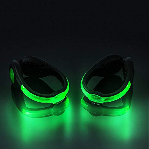 N\A LED Shoes Clip Lights,Shoe Lights for Running at Night,Reflective Running Gear for Running Jogging Walking or Biking - Safety Waterproof(Fast Flashing/Stable)(2 Pack) Green
