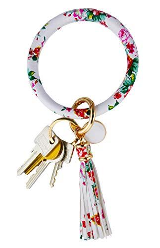 THOMELA Schlüsselanhänger Armreif - Quast - Kunstleder - goldene Ringe & Schnellverschluss - Modetrend 2020 - Geschenkbox Set (Weiß mit Blumen)