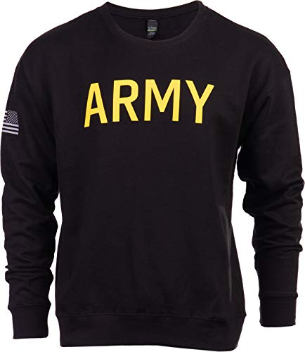 Army PT Style Sweatshirt | U.S. Military Physical Training Infantry Workout Long Sleeve Fleece Crewneck Sweater, Black-(CrewBLK,2XL)