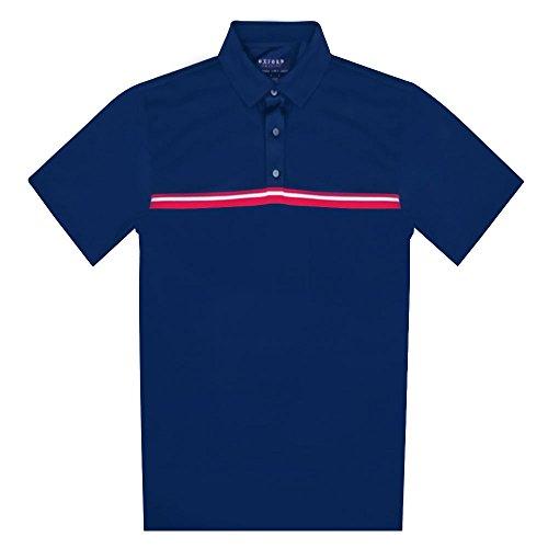 Polo masculina listrada no peito da Whitfield da Oxford Golf, Azul marino, Small