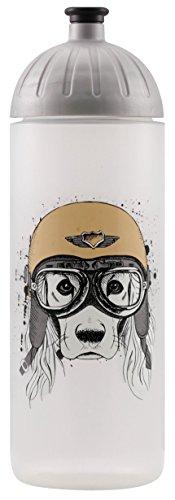 Original ISYbe Marken-Trink-Flasche für Kinder und Erwachsene, 700 ml, BPA-frei, Hund mit Helm-Motiv, geeignet für Schule-Reisen-Sport & Outdoor, Auslaufsicher auch mit Kohlensäure, Spülmaschine-fest