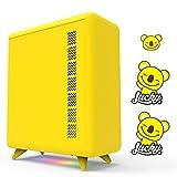 GOLDEN FIELD Q-Serie Gelb PC-Gehäuse, mit 3 DIY-Aufklebern, 5-V-Lichtleisten, Desktop-Computergehäuse für Mädchen/Heim/Büro