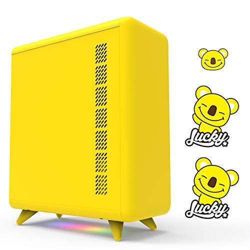 GOLDEN FIELD Caja de ordenador amarilla de la serie Q con 3 pegatinas de bricolaje, tiras de luz de 5 V, carcasa para ordenador de sobremesa para niñas, hogar y oficina