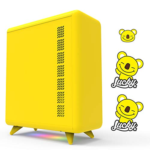 GOLDEN FIELD Q Series Yellow PC Case, with 3 DIY Stickers, M/B Control...