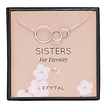 EFYTAL Sister Gifts from Sister 925 Sterling Silver Three Circle Necklace Birthday Jewelry Gift Necklaces for 3 Sisters For Eternity