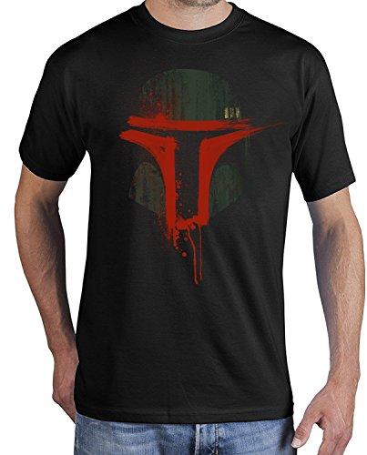 adrotes Herren T-Shirt Boba Bloody Mask ADSW10007 (L, schwarz)