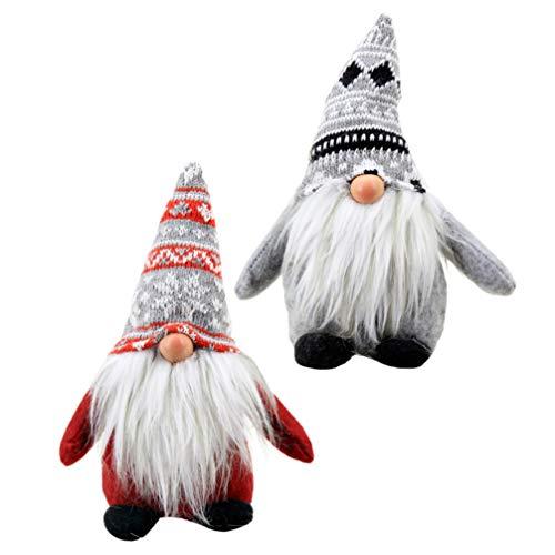 TOYANDONA 2 Pz Svedese Santa Gnomo Peluche Bambola Scandinavo Tomte Nordic Peluche Elfo Giocattolo per La Casa di Natale Decorazioni per La Tavola