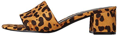 Amazon-Marke: FIND Block Heel Mule Offene Sandalen, Beige (Leopard), 39 EU
