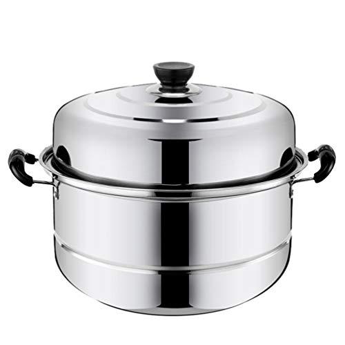 Cabilock Olla de Vapor de Acero Inoxidable para Cocinar Sopa Y Vapor Olla de Vapor con Tapa para Tamal Verduras Dumplings Y Mariscos