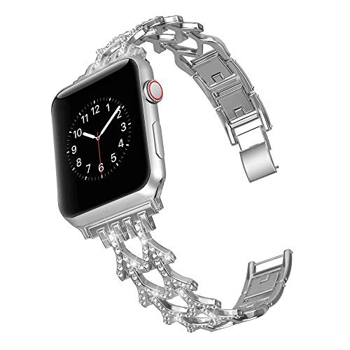 elecfan Wristband for iWatch Series 3, Watch Lugs Bracelet Strap 38mm/40mm Removable Links Watchband Stainless Steel Rhinestone Watch Strap for Apple iWatch Series 1/2/3/4/5,Silver