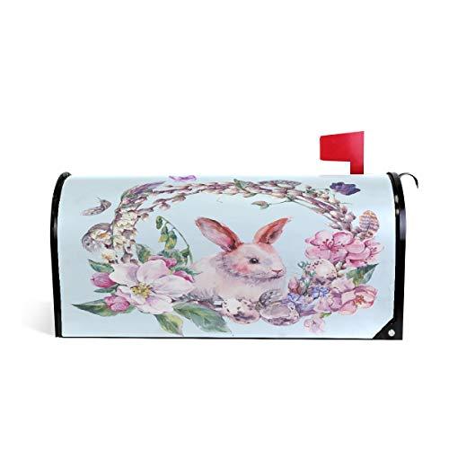 Wamika Boîte aux Lettres aimantée Motif Papillon et Lapin 52.6x45.8cm Multicolore
