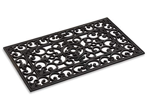 Kempf Felpudo de goma rectangular, hierro forjado, negro, para entrada interior y exterior, 45,7 x 76,2 cm