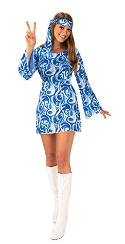 Bristol Novelty AC407S Flower Power Hippie Meisje (S) Kostuum, Vrouwen, Multi Kleur