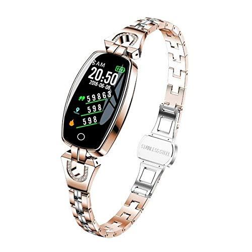 H8 - Reloj de pulsera inteligente para mujer con monitor de presión arterial, correa de acero resistente al agua, color dorado