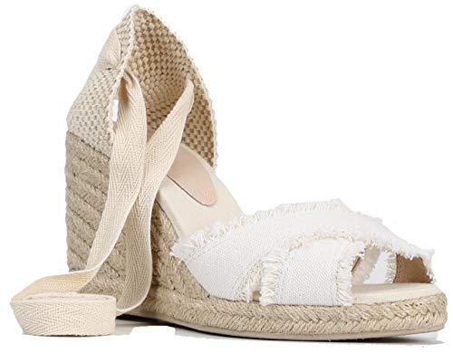 SimpleC Damen Knöchelriemen 7cm Keilabsatz Sandalen Esapadrilles Lace Up Hochzeit Freizeit Schuhe WeißEU 35