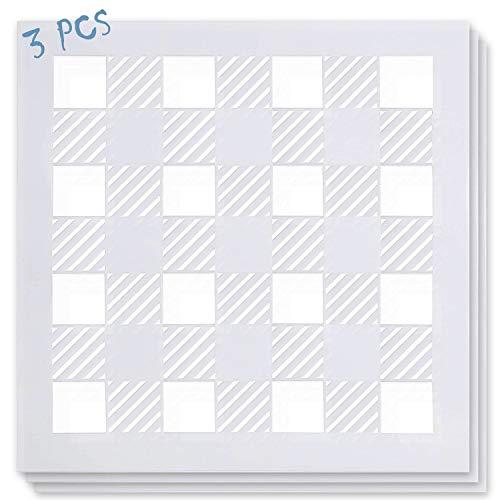 3PCS Buffalo Plaid Stencil 12x12Inch - Reusable Big Check Checker 18 Mil Mylar Template - Milky White DIY Farmhouse Pattern Stencil for Painting Wood & Wall Art