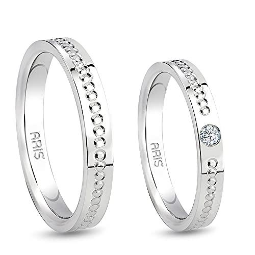 Aris Diamond - Alianzas de boda con diamante de oro blanco 585.