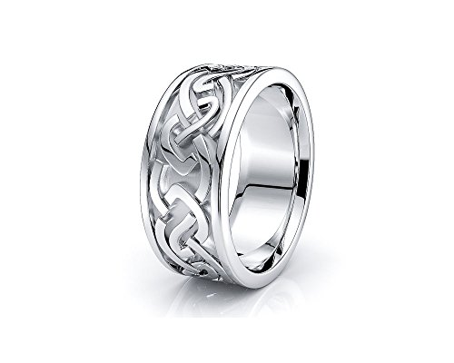 10K White Yellow Gold 8mm Celtic Knot Wedding Band Rings