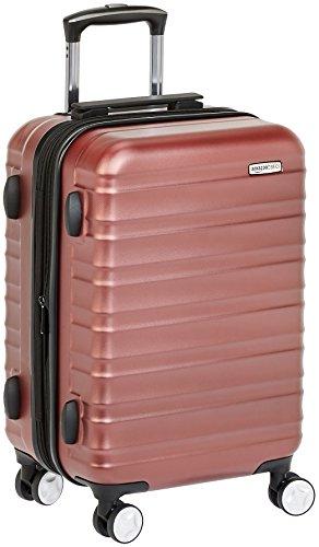 Amazon Basics - Maleta de mano rígida de alta calidad, con ruedas y cerradura TSA incorporada, 55 cm, Rojo