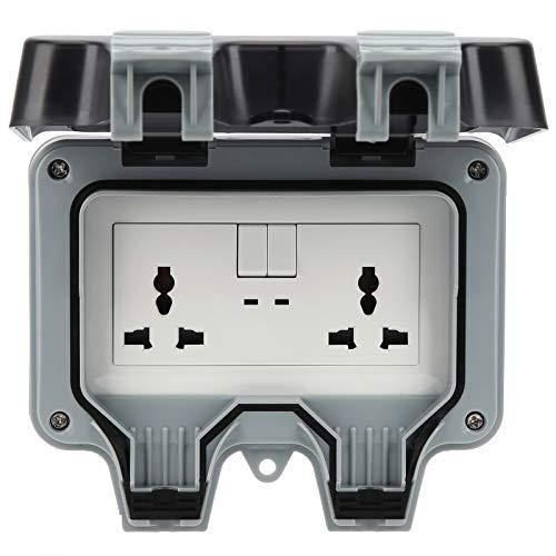 Enchufe para exteriores, enchufe de pared para exteriores de 220 V con 2 enchufes de 3 orificios + 2 enchufes eléctricos impermeables con interruptor, para estacionamientos, sitios de construcción