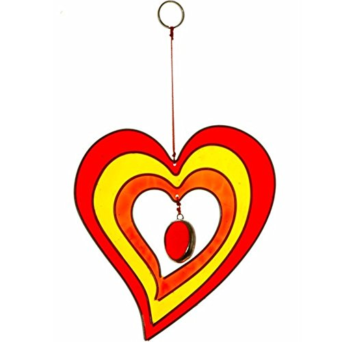 Colourful Heart Shaped Hanging Sun Catcher Handcrafted Garden Ornament (Red/Yellow)