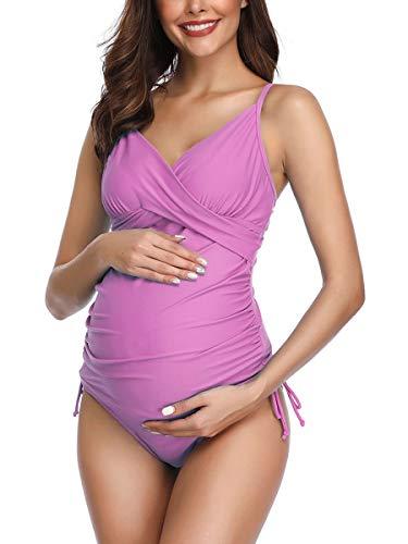 Traje de Baño Mujer Maternidad Premamá Tankini de Dos Piezas Rosa S