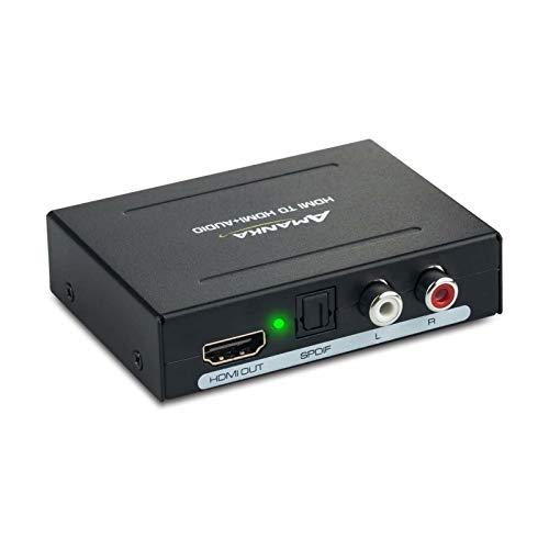 AMANKA Digitaler Audio Konverter HDMI zu HDMI SPDIF/Toslink RCA L/R Audio Konverter Adapter Ausgang mit 5V / 1A DC Netzteil für Phone TV Blu-ray Player, Schwarz