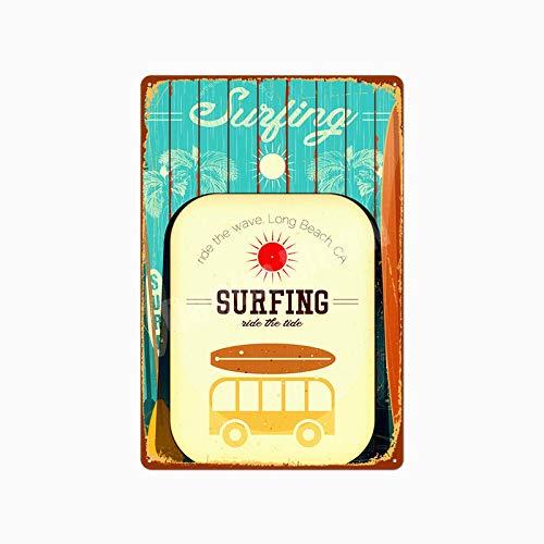 Jinlyp Beach Surf Retro Metal Cartel de Chapa Hawaii Party Art Painting Bar Club Decoración del hogar al Aire Libre Placa de Metal 20x30cm K