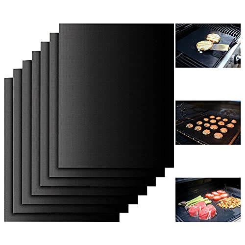 Lamesa Grill Mat Set of 7-100% Non-Stick BBQ Grill Mats Baking Mats, PFOA Free, Heavy Duty, Reusable and Easy to Clean, Works on Gas Charcoal and Electric BBQ (7 Pcs)