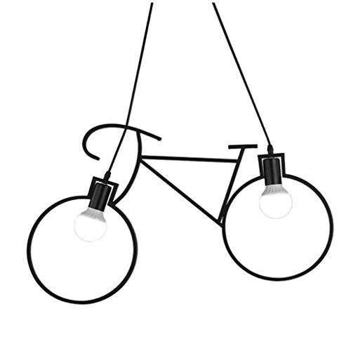 DYXYH Bicicletas Araña, Araña, Negro Metal luz Pendiente, 2 Luces lámpara Colgante for el Hotel, Restaurante
