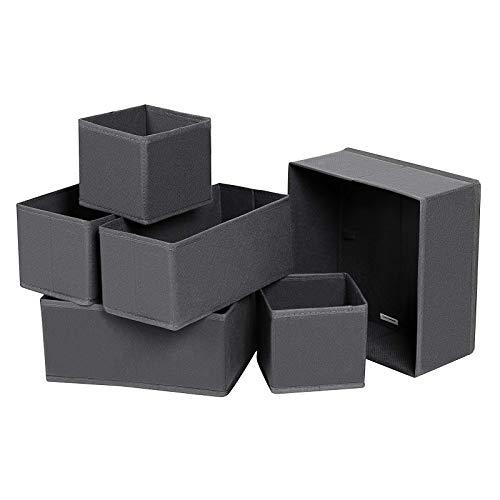 SONGMICS Aufbewahrungsbox für Schublade, 6er Set, Unterwäsche-Organizer, Schubladen-Organizer, Faltbare Stoffbox für Socken, Unterwäsche, BHS, Krawatten und Schals, grau RDZ06G