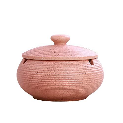 WSJF Cenicero for Cigarrillo Cenicero Papelera de Cerámica de Interior o al Aire Libre OutdoorGarden con Tapa Interior, Altura 8 cm Diámetro: 11 cm, Negro (Color : Pink)