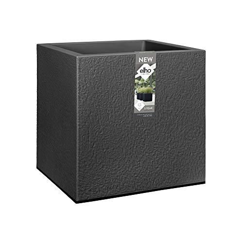 Elho Vivo Structure Finish Square Rollen 40 - Übertopf - Lebhaft Schwarz - Drinnen & Draußen  - L 39 x W 39 x H 41 cm