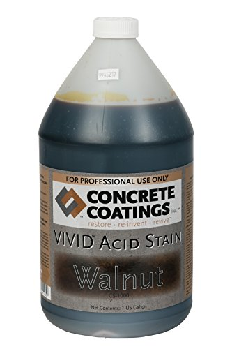 Cc concrete coatings vivid acid stain for antique marble effect, concrete stain for inside or outside, commercial or residential use (walnut - rich black w/brown undertone, 1 gal)