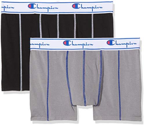 Champion Coton, Boxer de Bain Homme, Multicolore (Gris/Noir 8md), Large (Taille Fabricant: L) (lot de 2)
