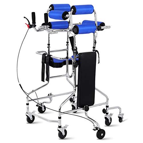Carritos médicos Andador multifunción para discapacitados, con freno de mano sencillo, antivuelco, antivuelco, marco para caminar de 120 kg / 220 libras, entrenamiento de rehabilitación para caminan